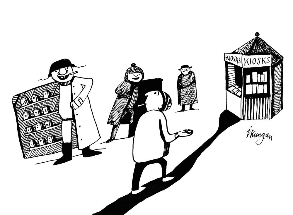 04-02-2011 Pērkot cigaretes Latvijā, nepieciešams stigrs raksturs. Tik daudz kārdinātāju pa ceļam uz veikalu.