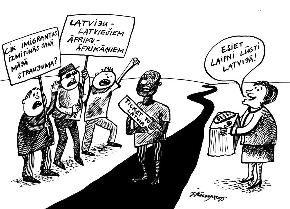 05-08-2015 — Jautājumā par imigrantiem sabiedrība dalās divās frontēs.