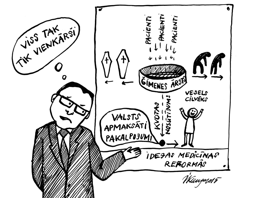 08-10-2015 — Veselības ministrs skaidro kārtējās idejas medicīnas reformās, bet no tā saprast nevar neko.