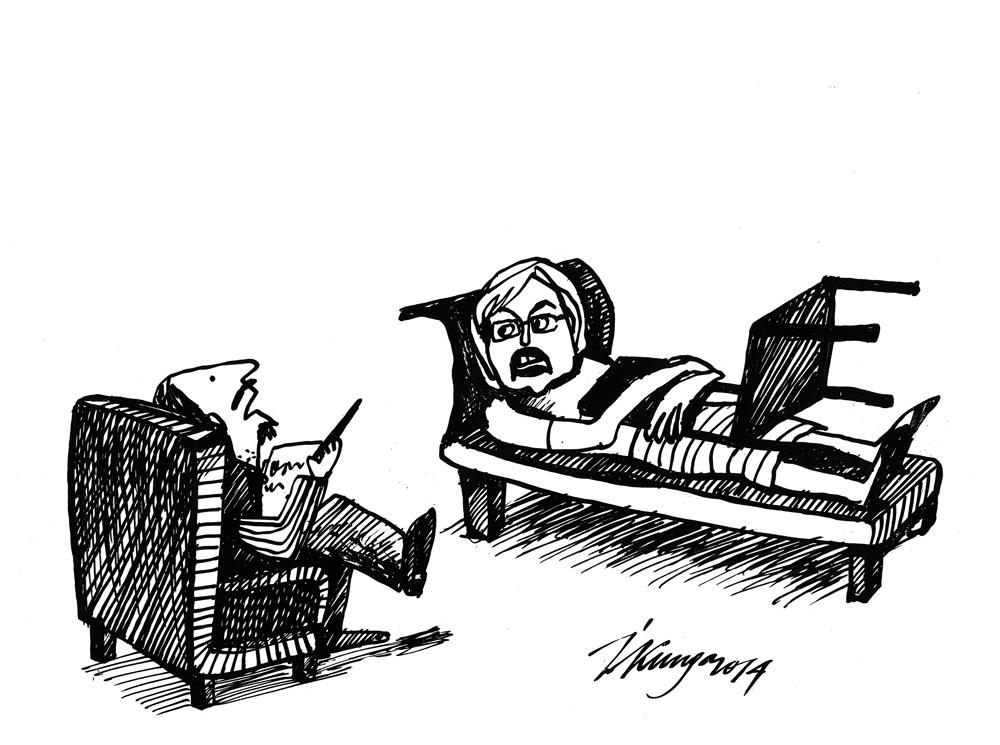 09-07-2014 — Circenes kundze, vai jūs varētu mūsu sarunas laikā nolikt to krēslu? — Es jums nepatīku, vai? Mani jau piespieda veselības ministres krēslu nolikt!