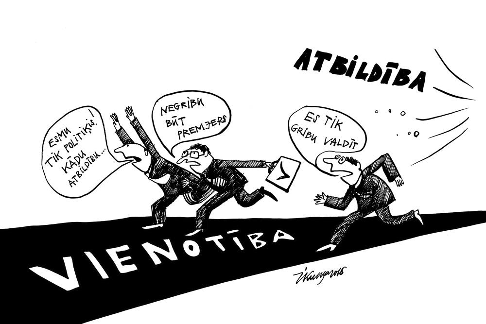 """11-01-2016 — Valdošās partijas """"Vienotība"""" politiķi baidās uzņemties atbildību un kandidēt par premjeru."""