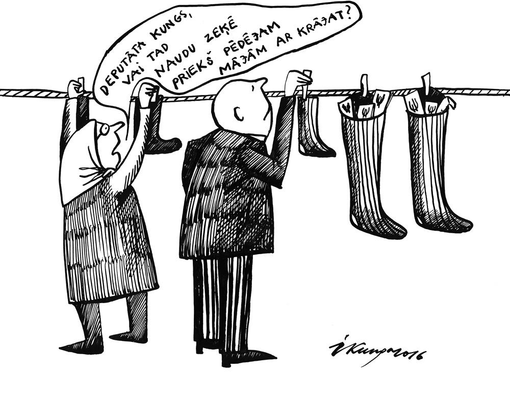 15-02-2016 — Arī Saeimas deputāti nemīl naudu glabāt bankā, bet gan zeķē!