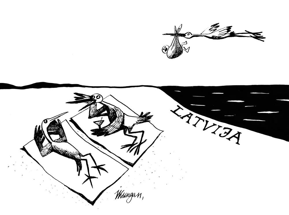 20-04-2011 Divu stārķu saruna. – Patīkami atgriezties Latvijā, var atpūsties! – Bērni tagad jānes reti!