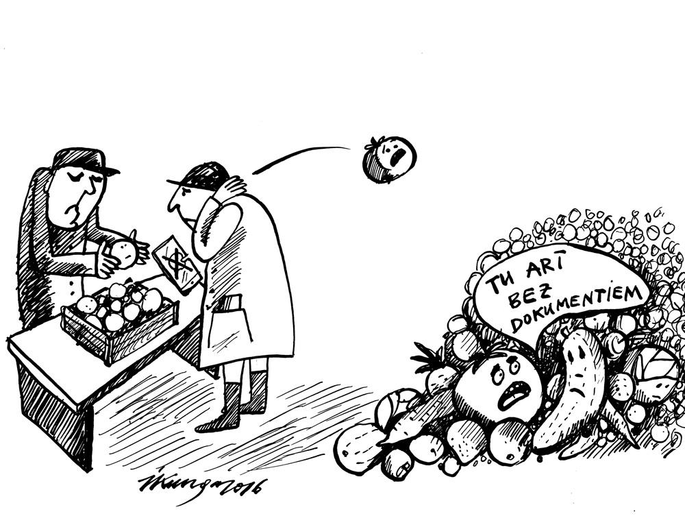 20-07-2016 Pārtikas inspektori Rīgas centrāltirgū konfiscējuši 3 tonnas augļu, ogu un dārzeņu, par ko nav dokumentu.