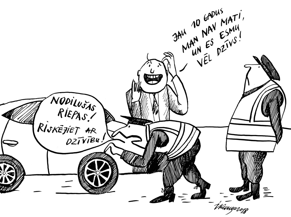 22-02-2018 Diezgan daudzi autovadītāji brauc ar ļoti nodilušām riepām.