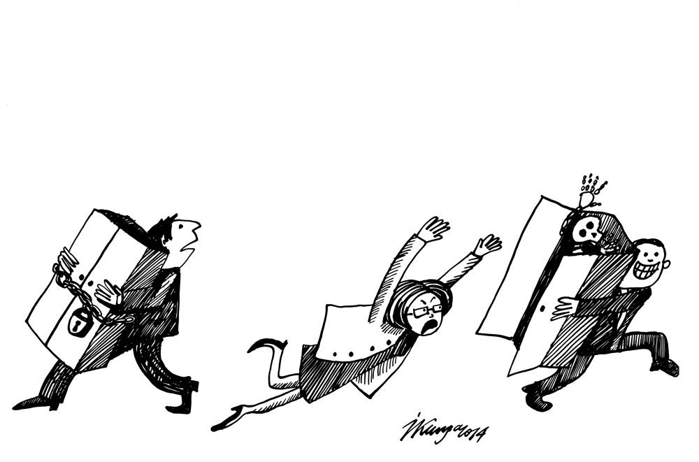 22-09-2014 — Nāk vēlēšanas, politiķi cits citam intensīvi no skapjiem izvelk skeletus vai zog tos ar visiem skapjiem.