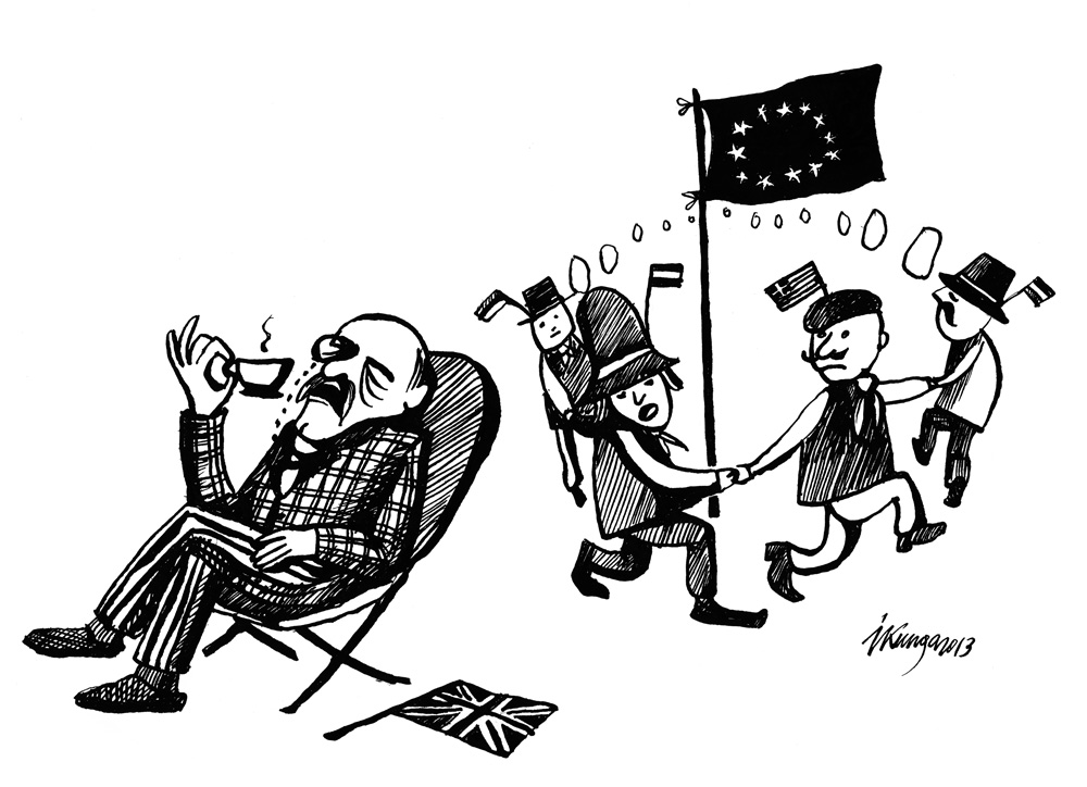 """24-01-2013Latvietis: """"Mums jāturas Eiropas Savienībā visiem kopā!"""" Anglis: """"Es savu tēju lapbrātāk dzeru mierā un klusumā, nevis skāļa barā!"""""""