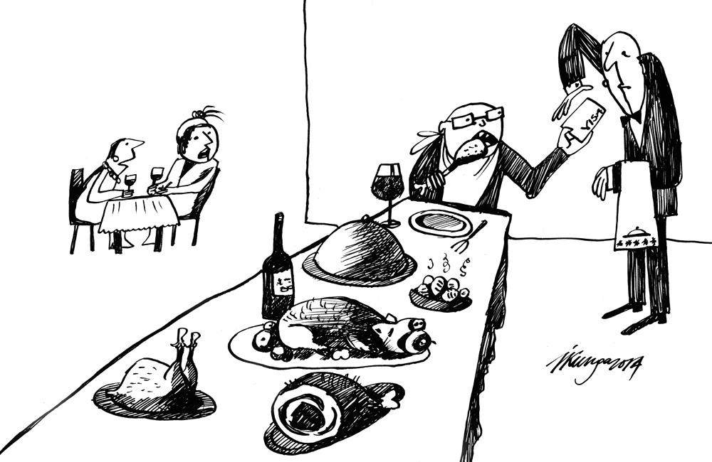 24-02-2014 — Kā tu domā, vai ministrs te ēd par valsts naudu? — Protams, par savējo atļautos labi ja zupiņu!