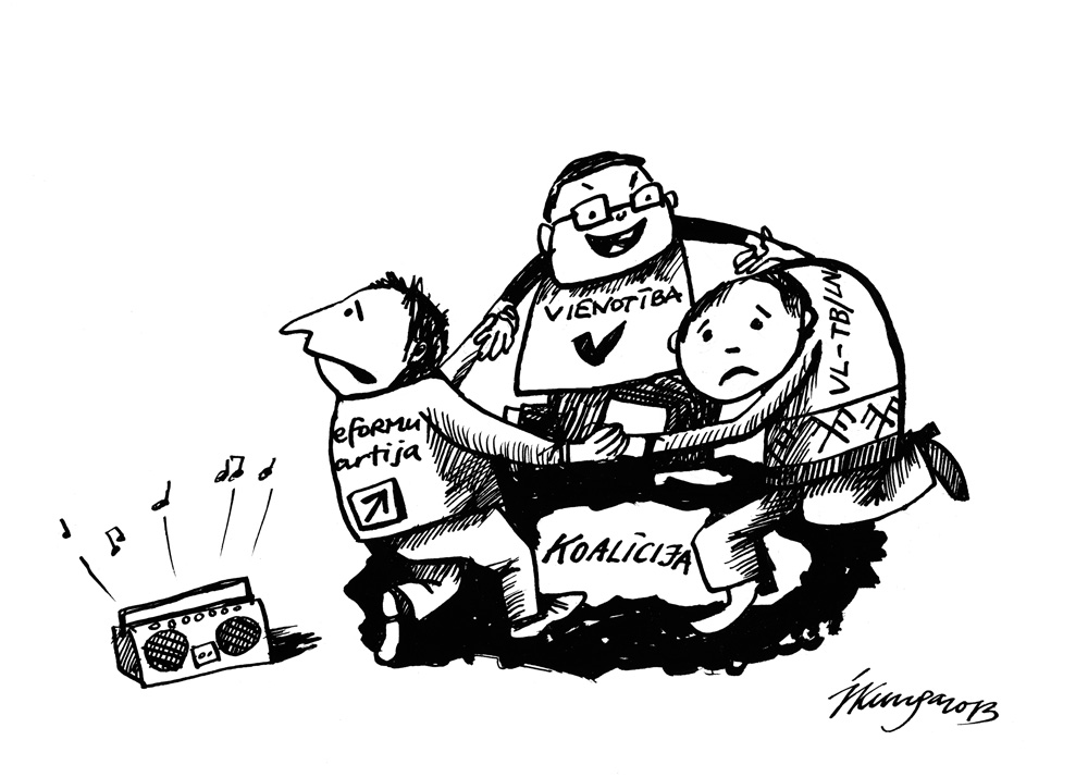 26-09-2013 Tā nešķiramā dejā griežas cits citam apnikušie Saeimas koalīcijas deputāti … la, la, la, lalaaa!