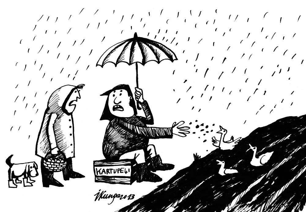 27-05-2013 — Mīļā, mums šogad jāpārorientējas no kartupeļiem uz pīlēm, jo mums uz lauka jau ir dīķis.