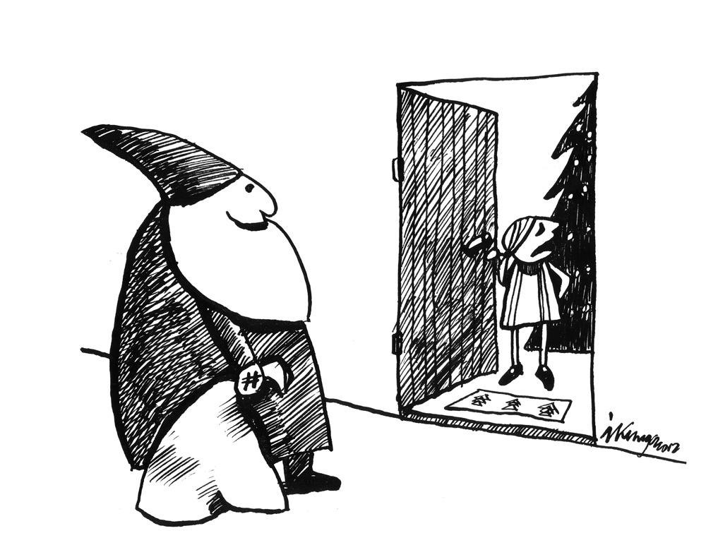 20-12-2012 — Mammu, te viens pie durvīm apgalvo, ka ir īstais Ziemassvētku vecītis!