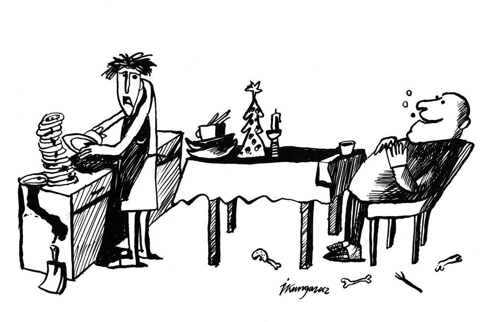 21-12-2012 - Mīļā, vai Ziemassvētki nav skaisti ģimeniski svētki! - Jā, es traukus mazgāju jau trešo dienu!