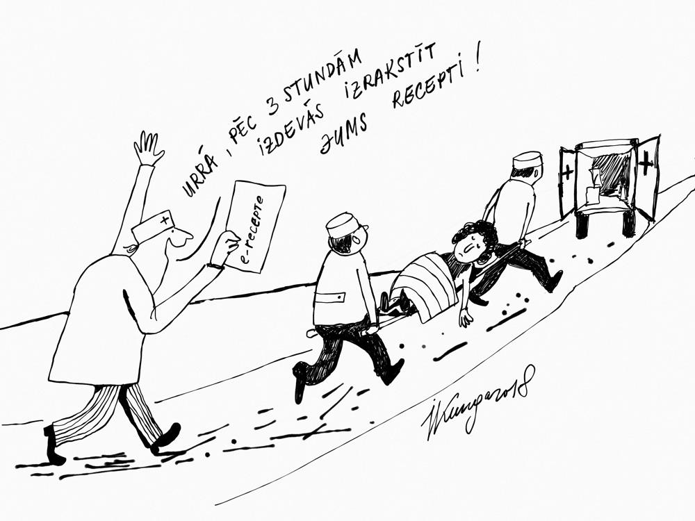 Karikatura_03-01-2018 / E-veselība nav paredzēta vārgiem nerviem un nepacietīgajiem.