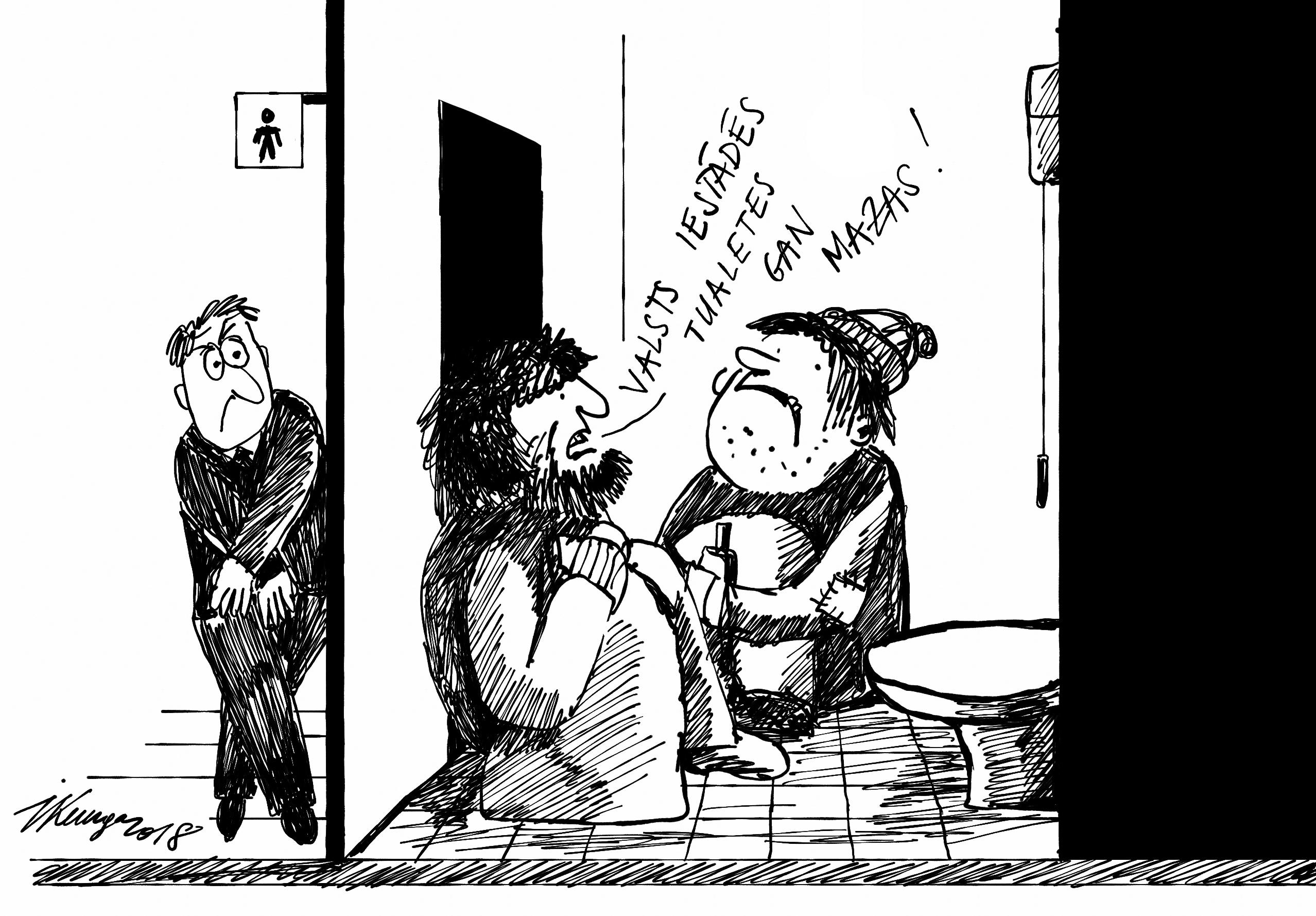 Karikatura_24-01-2018 Valsts iestādēs tualetes par mazu lai varētu visi tajās sildīties.