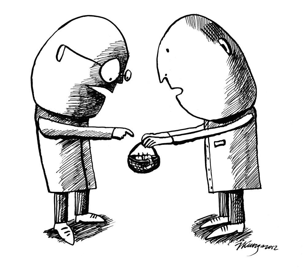 03-12_2012 Kādu dienu Centrālajā statistikas pārvaldē: — Kas tev groziņā? — Aktuālais iztikas minimums uz vienu iedzīvotāju mēnesī!