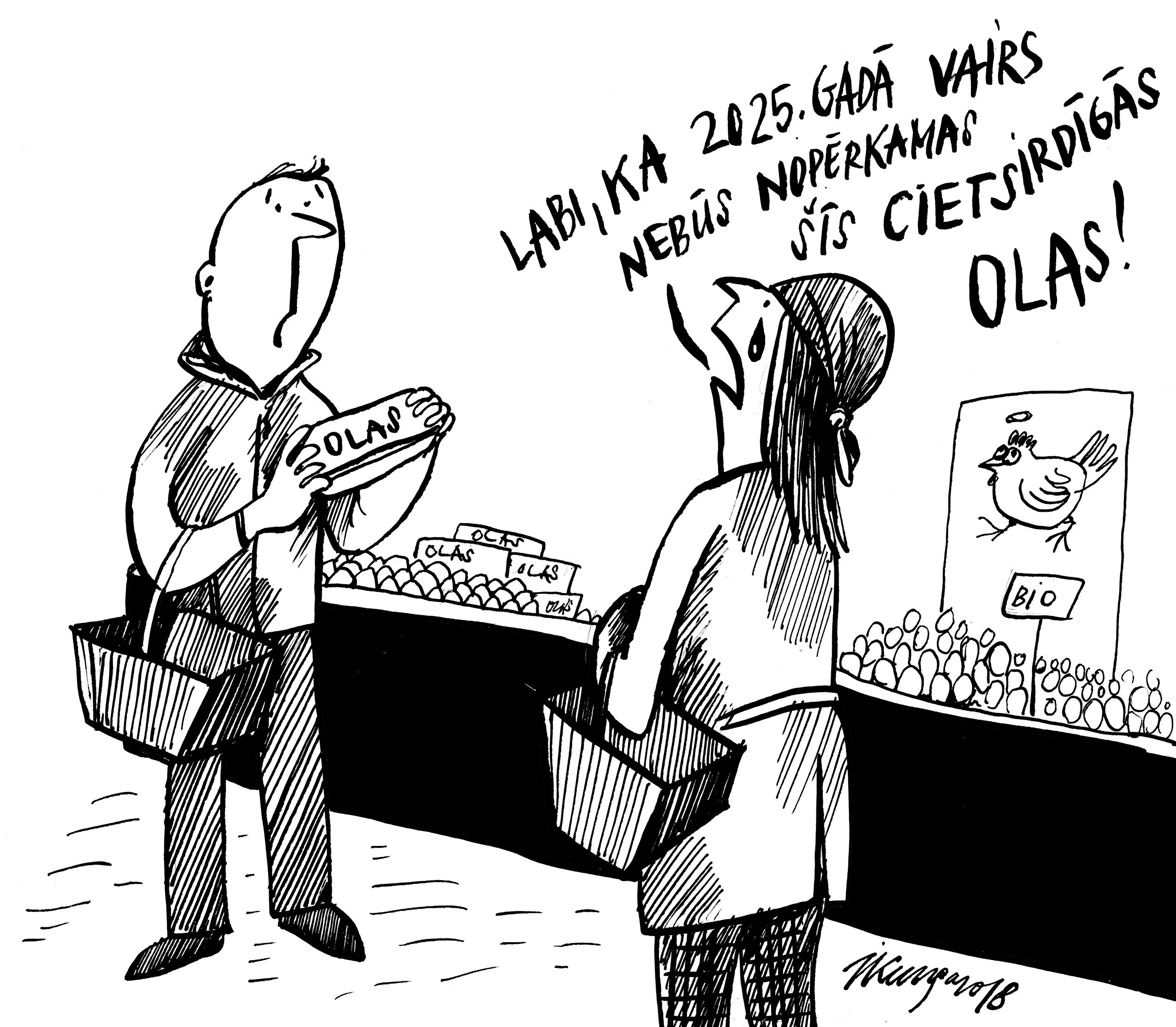 Karikatura_Janvaris 2018 2025. gadā lielveikali apņēmušies netirgot sprostos turētu vistu olas.