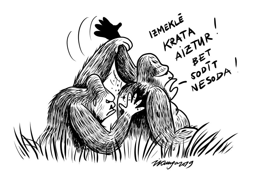 Karikatura_04-09-2019-- Nepārtraukti kādu izmeklē, krata un aiztur. Kas sāks sodīt vainīgos?