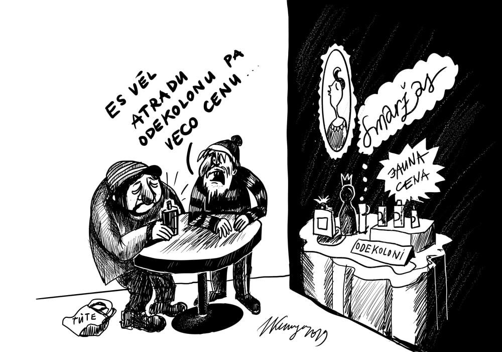 Karikatura_07-10-2019-Veselības ministrija grib sākt diskusiju par lētā odekolona cenas paaugstināšanu.