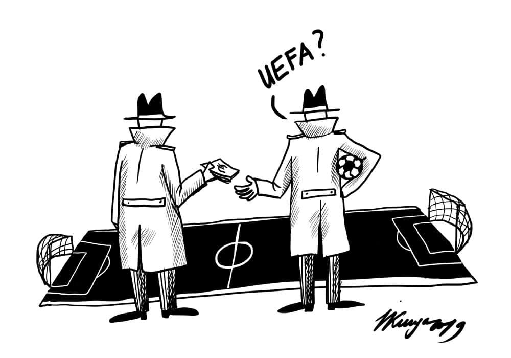 Karikatura_10-10-2019-Valsts policija sākusi izmeklēšanu sasitībā ar UEFA futbola spēļu rezultātu iespējamu sarunāšanu, aizdomās turētā statuss piemērots arī diviem Latvijas valstspiederīgajiem. Te tev nu bija godīga cīņa sportā!