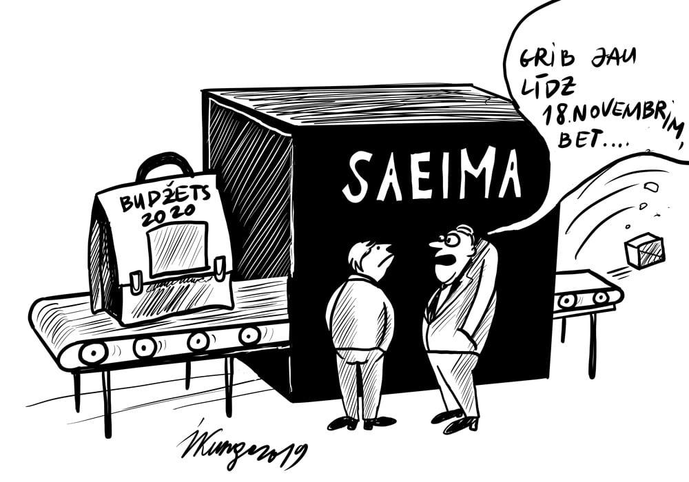 Karikatura_14-10-2019-Saeimā nodots nākamā gada budžeta portfelis, cik ilgi vajadzēs, lai to izskatītu?