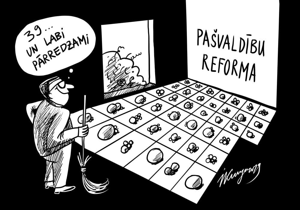 Karikatura_17-10-2019-No 119 pašvaldībām uz 39 — reforma ar sekām.