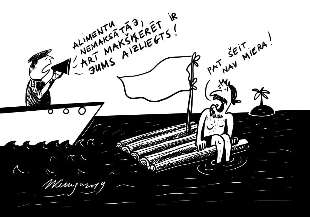 Karikatura_21-10-2019-Iedzīvotāji uzskata, ka alimentu nemaksātājiem jāaizliedz makšķerēt un medīt.