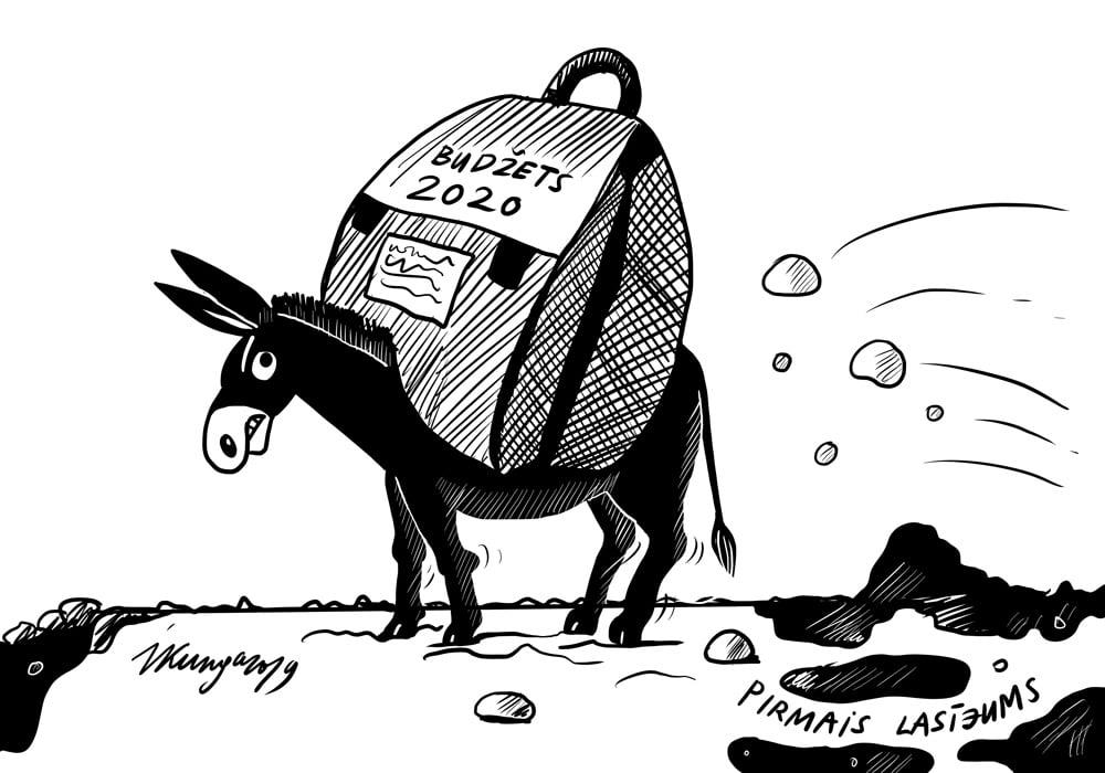 Karikatura_31-10-2019-Nākamā gada budžets ir smaga nasta, pirmajā lasījumā tas konceptuāli atbalstīts.