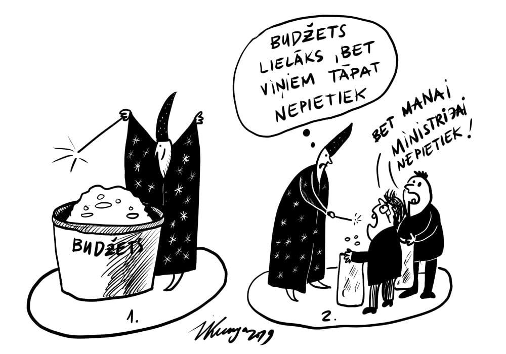 Karikatura_13-11-2019 / Naudas budžetā daudz vairāk, bet nekam nepietiek.