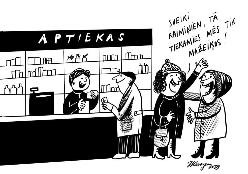 Karikatura_27-11-2019 / Mažeiķos nedēļas nogalēs dzird tikai latviešu valodu.