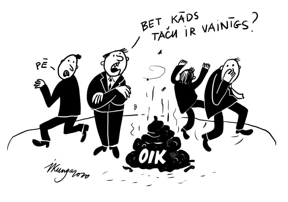Karikatura_20-02-2020-Ieva-Kunga / Gala ziņojums par OIK, bet politiski atbildīgo nav.