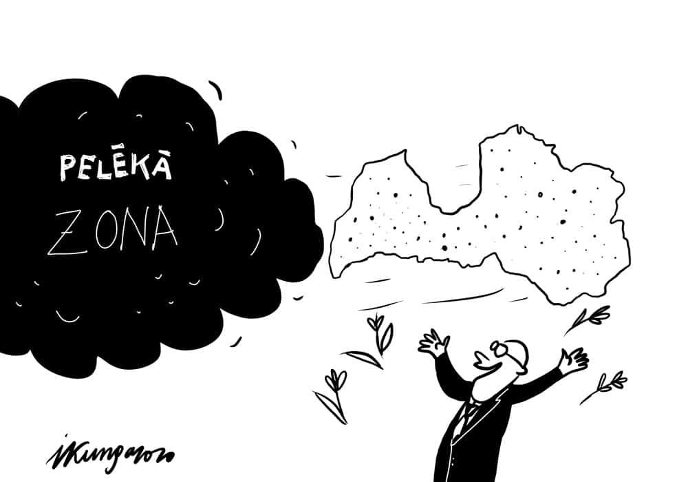 Karikatura_24-02-2020-Ieva-Kunga / Latvija tikusi ārā no pelēkās zonas.