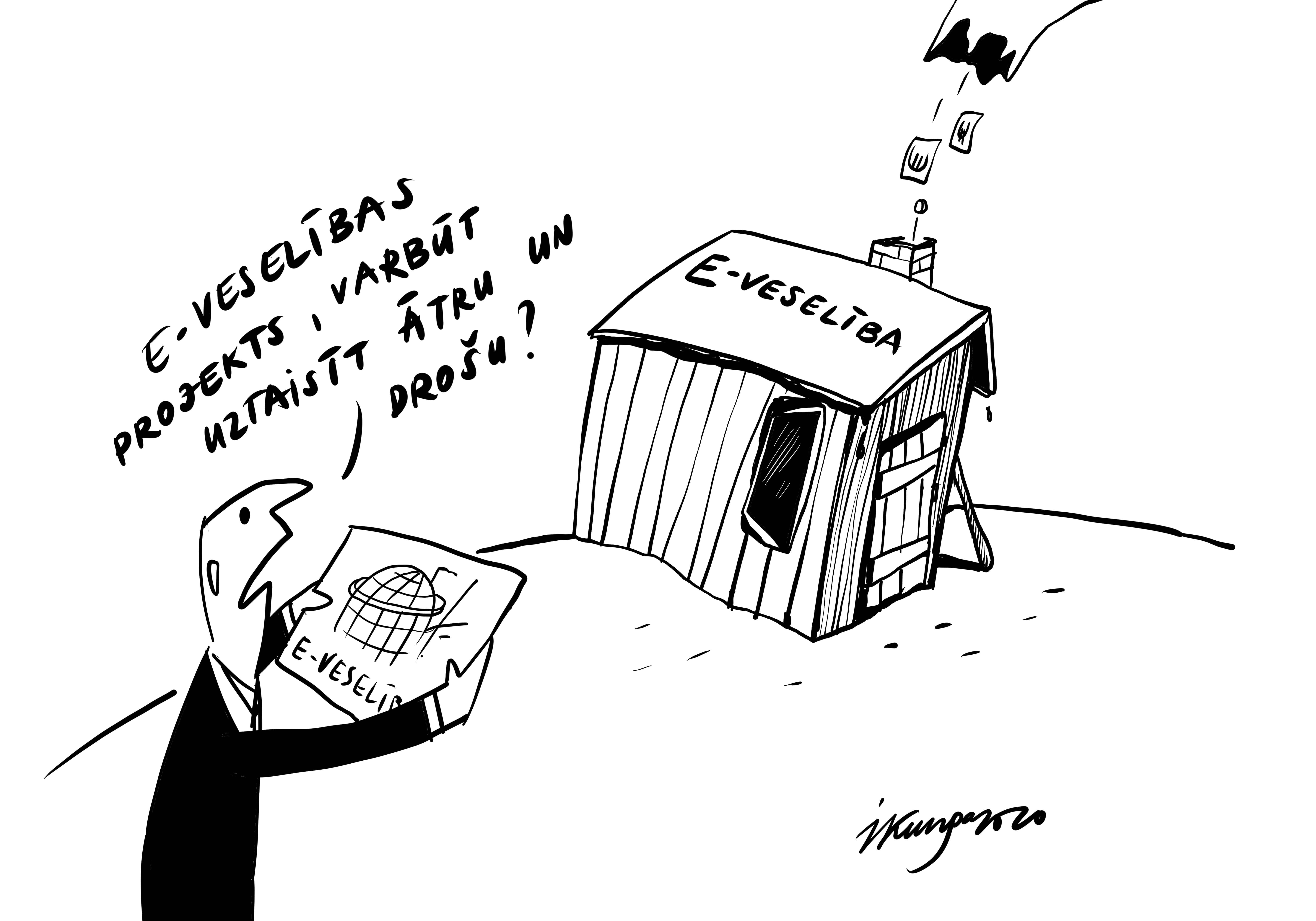 Karikatura_02-03-2020 - E-veselības sistēmas sliktā diagnoze.