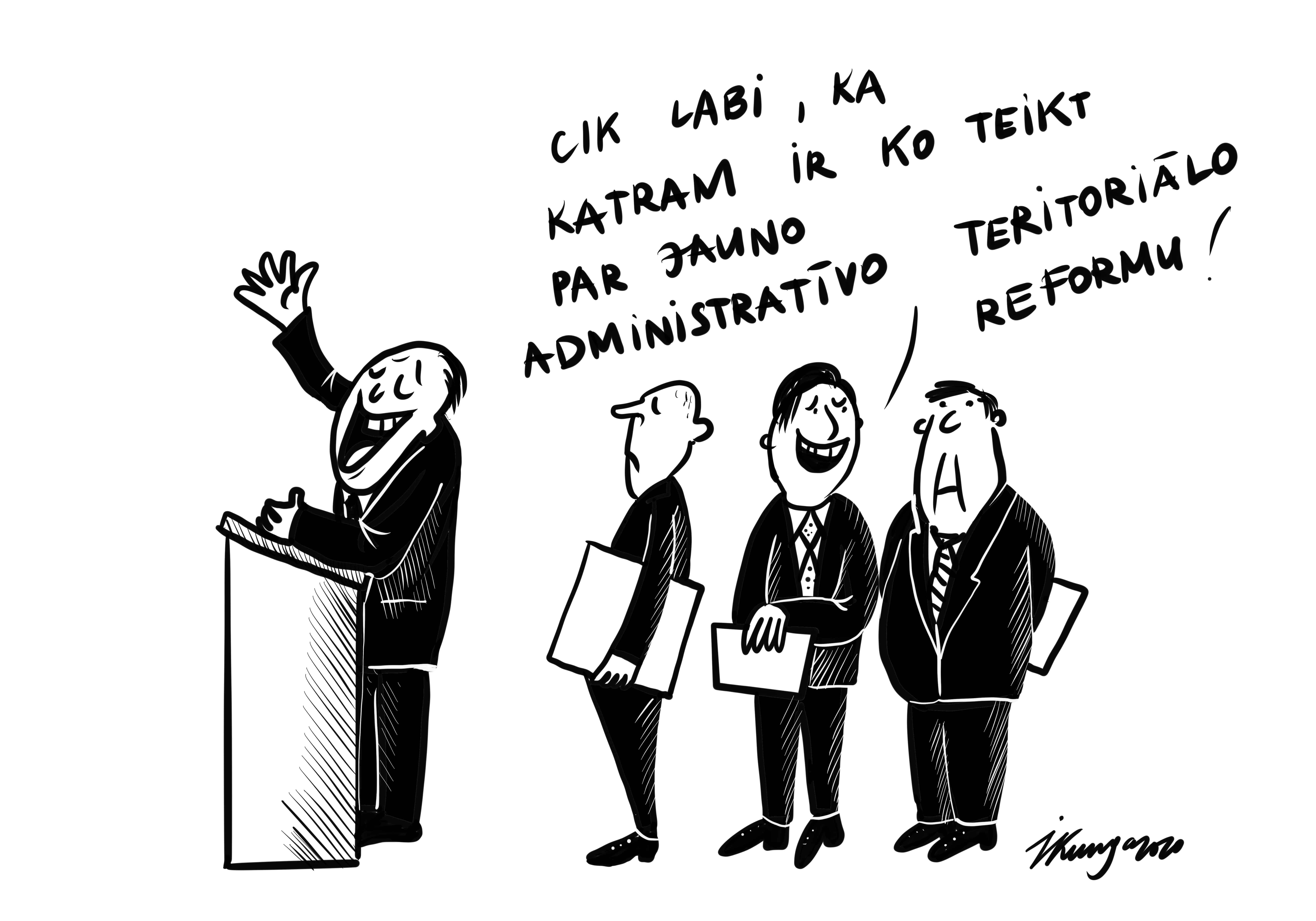 Karikatura_11-03-2020 - Saeima jau 4 dienas spriež par administratīvi teritoriālo reformu, to plāno darīt visu nedēļu.