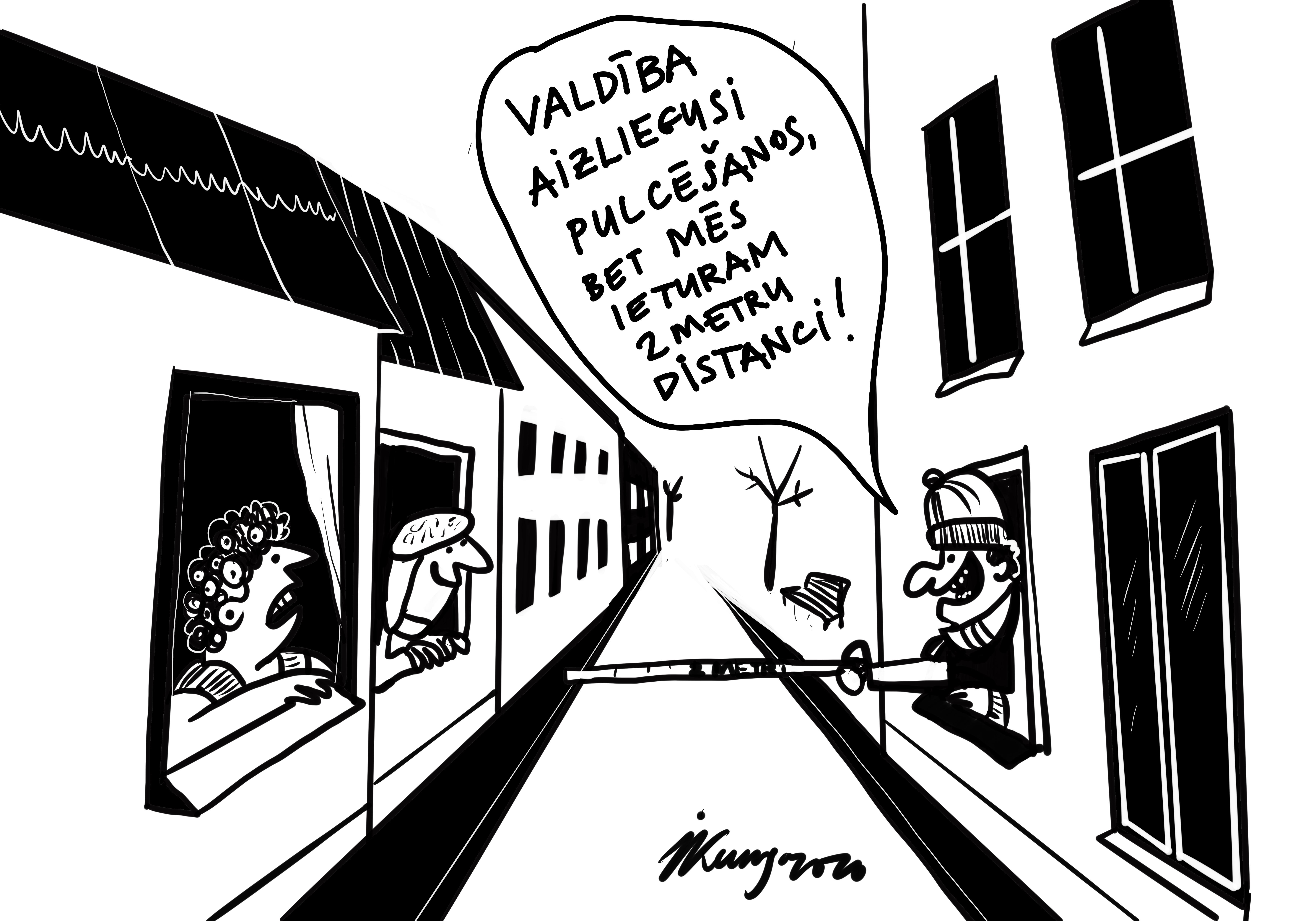 Karikatura_30-03-2020 - Ārā ir ziema un pulcēšanās aizliegums.