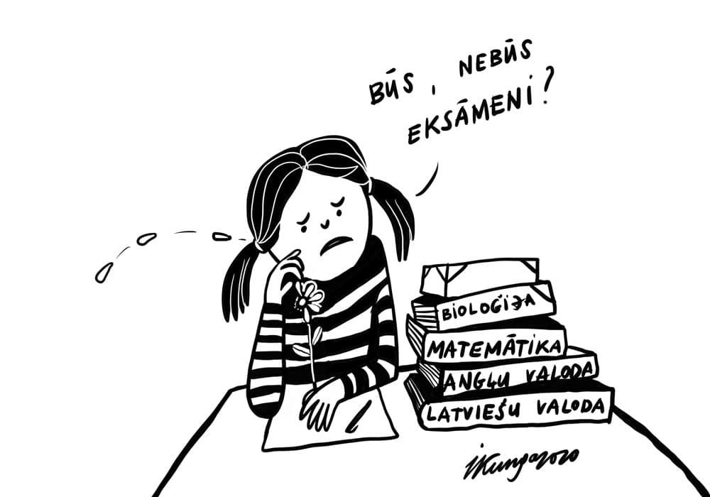 Karikatura_16-04-2020 Skolēni satraukušies — tuvojas eksāmenu laiks.