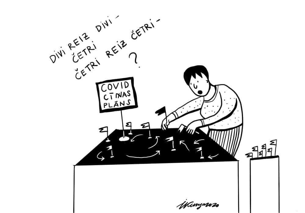 Karikatura_29-04-2020 / Divi reiz divi un četri reiz četri plāns