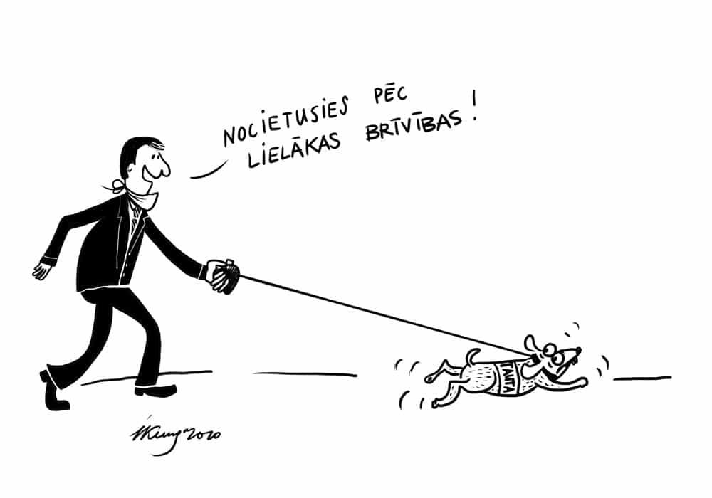 Karikatura_07-05-2020 / Ārkārtējā situācija valstī, tauta noilgojusies pēc lielākas brīvības.