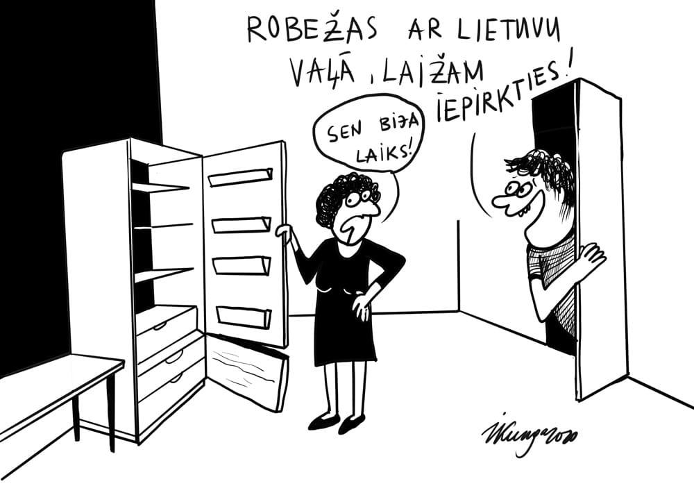 Karikatura_18-05-2020 / Ceļojumu laiks var sākties, Lietuvas un Igaunijas robežas ir vaļā.