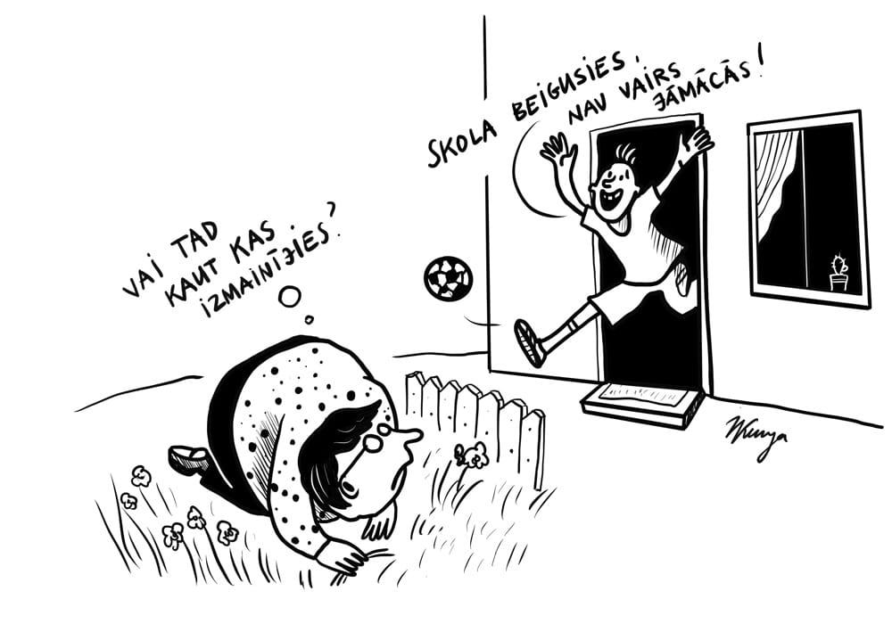 Karikatura_28-05-2020 / Skolas gads Latvijā beidzies