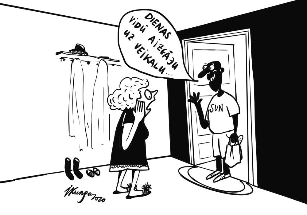 Karikatura_03-06-2020 / Saules stari tik stipri, ka ātri var pārsauļoties.