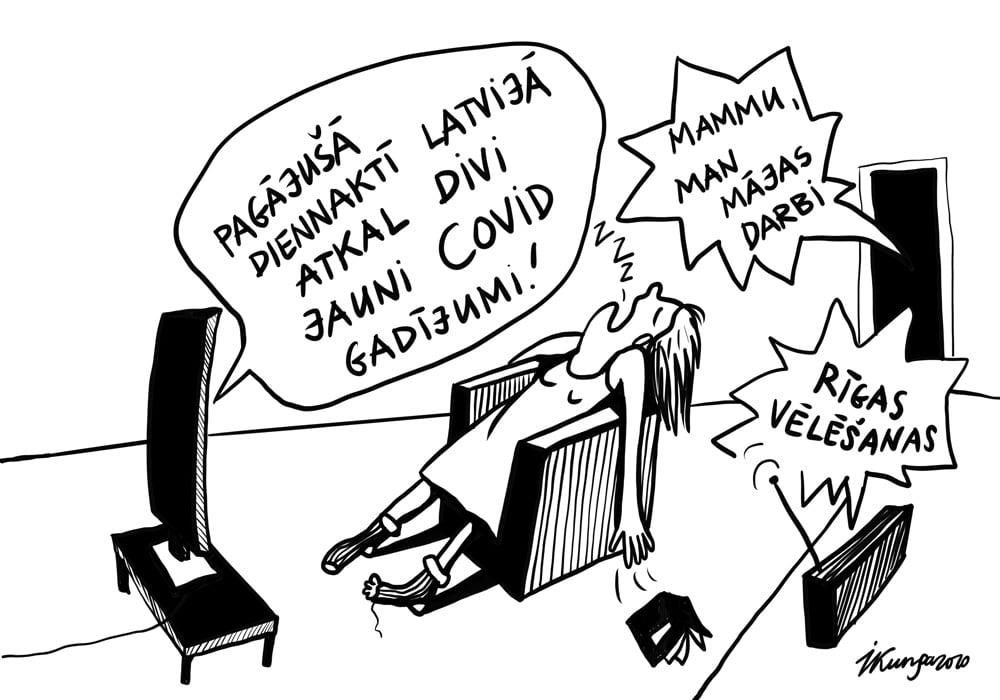 Karikatura_02-09-2020 / Mūsdienu cilvēka ikdiena — vienkārša dzīve bez satraukumiem.