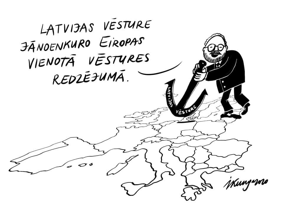 Karikatura_17-09-2020 -Valsts prezidenta Egila Levita šonedēļ izskanējusi ideja starptautiskā vēsturnieku konferencē.