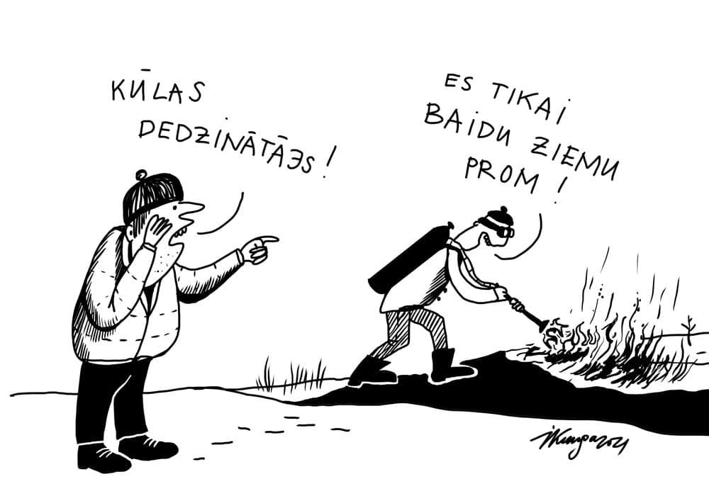 Karikatura_03-03-2021 - Brandstifter! - Ich verjage nur den Winter!