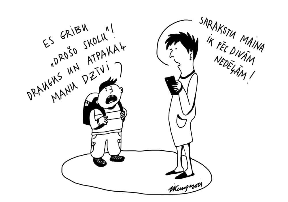 Karikatura_04-03-2021 - Ich will sichere Schule, meine Freunde und mein Leben zurück! - Die Sichere Schulliste ändert sich nur in zwei Wochen.