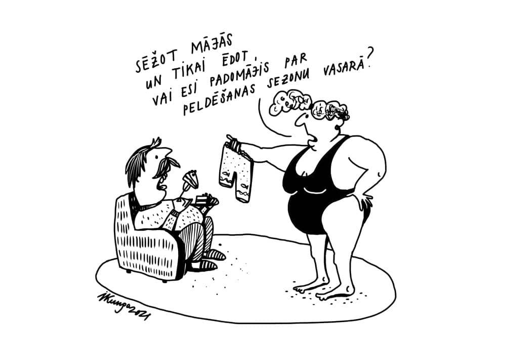 Karikatura_10-03-2021 - Du sitzt Zuhause und isst, hast über die Badessaison nachgedacht?