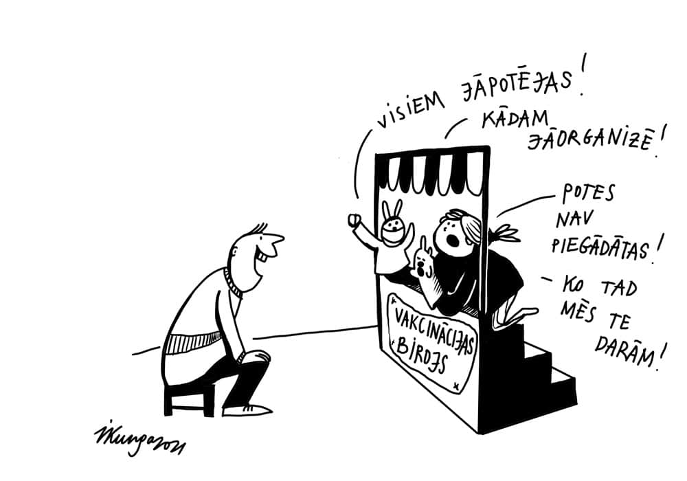 Karikatura_11-03-2021 - Alle müssen impfen! Wer will organisieren? Der Impfstof ist noch nicht da! Was machen wir hier überhaupt? Inszinierung von Impfbüro.