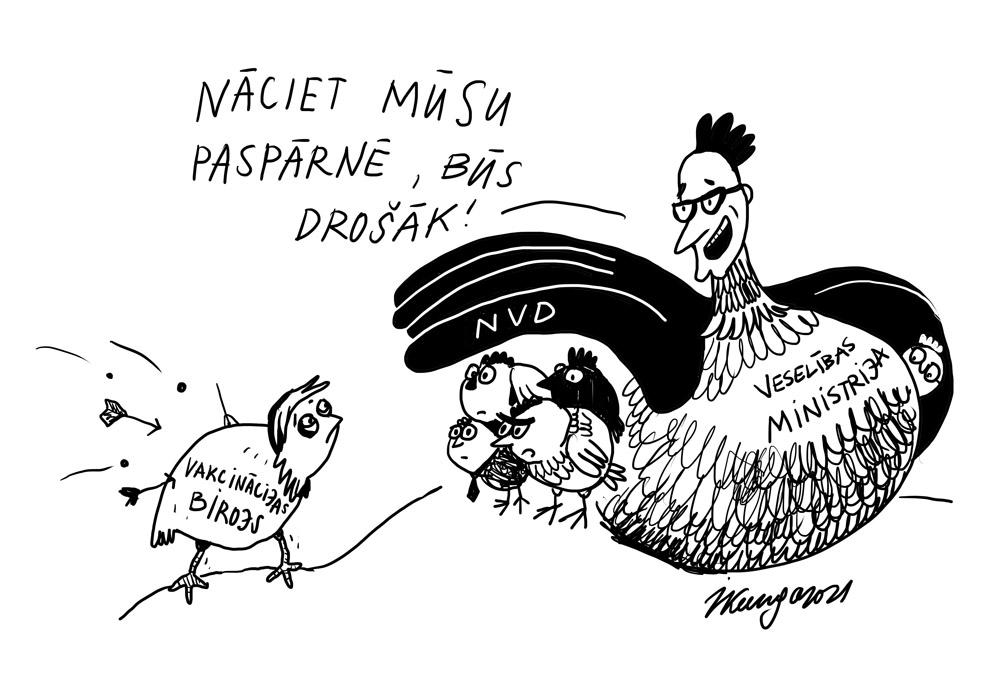 Karikatura_17-03-2021 Gesundheitsministerium: - Kommen Sie zu uns, hier ist sicherer? Impfbüro Geschichte.