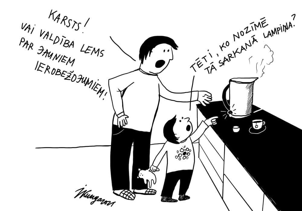 Karikatura_18-03-2021 - Was bedeutet rote Lampe da? - Heiss! Oder die Regierung denkt an neuen Lockdown Beschränkungen.