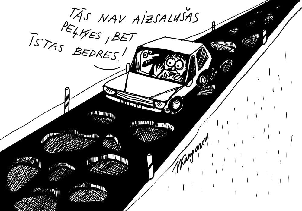 Karikatura_22-03-2021 - Das sind keine gefrorenene Pfützen, aber echte Straßenlöcher!