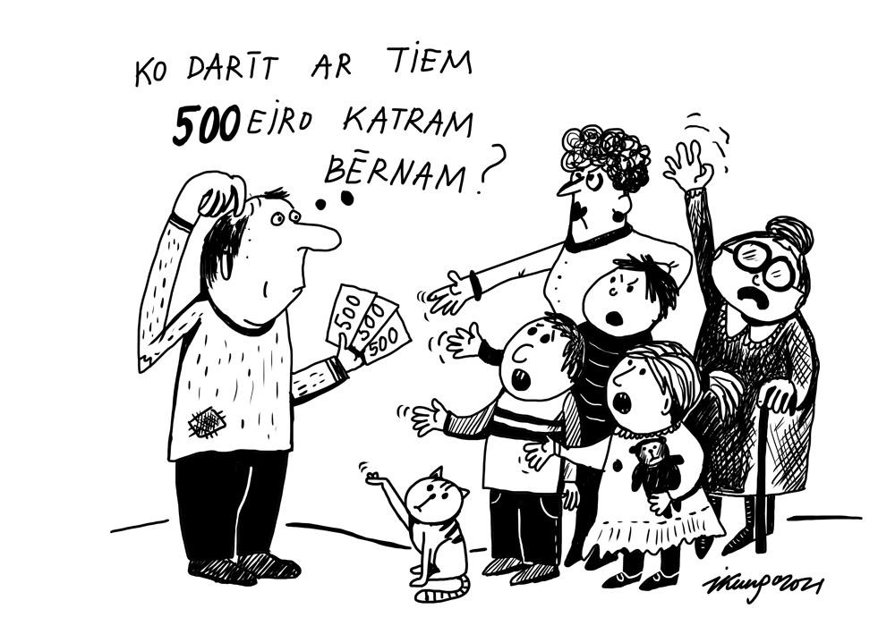 Karikatura_24-03-2021 - Was kann man mit 500 Eiro einmalige staatliche Unterstützung pro Kind in Lettland machen?